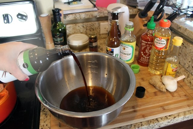 Add liquids to make sauce