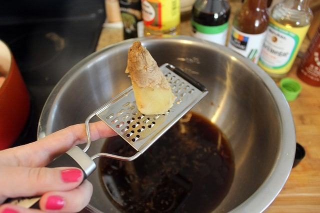 Grate ginger directly into bowl