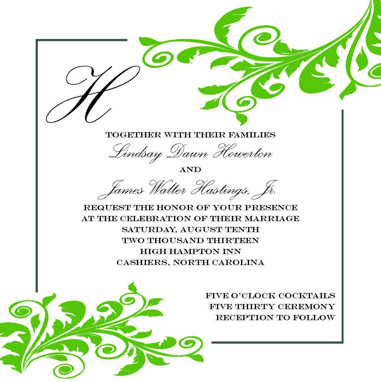 Wedding Invitation Plan 1