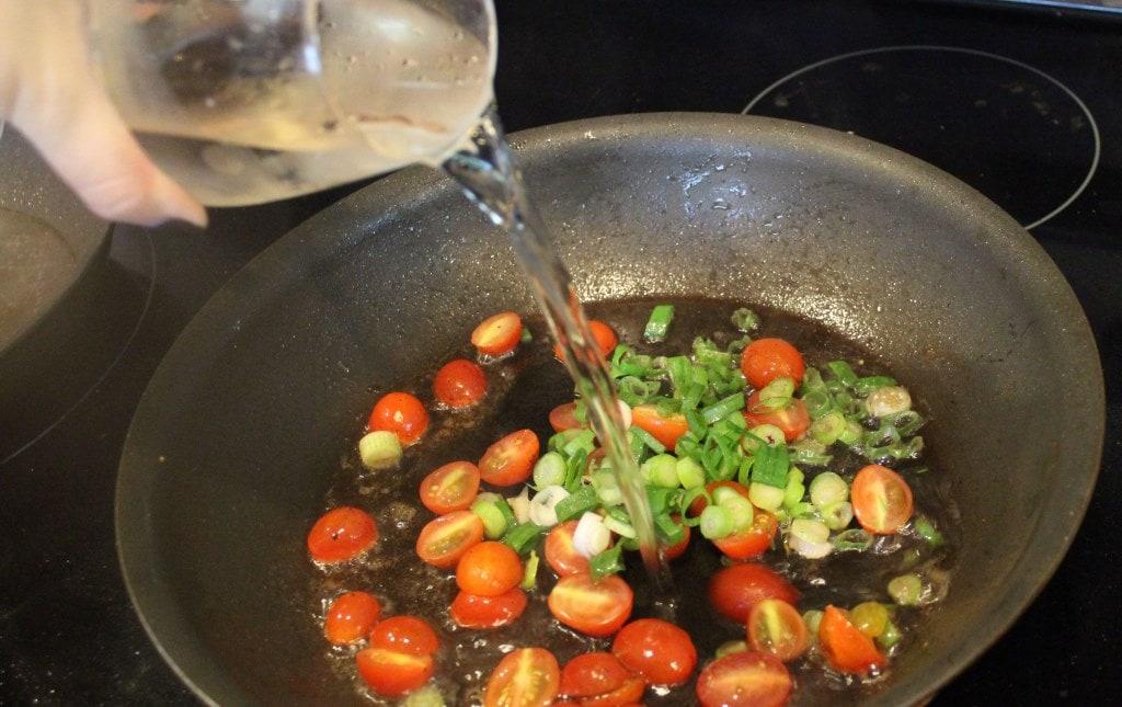 Add wine and veg