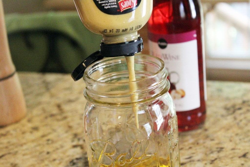 Add mustard to jar