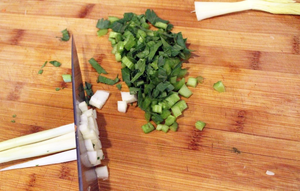 Chop celery into little bits