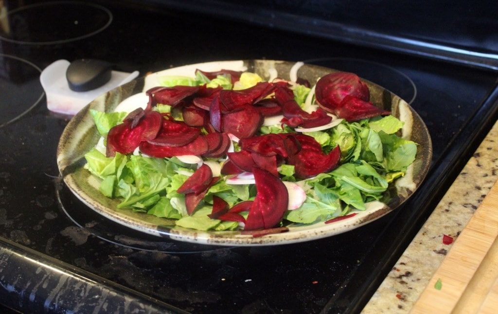 Sliced beets and onions