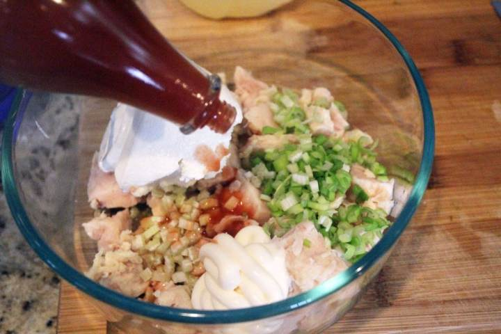Add hot sauce to other ingredients