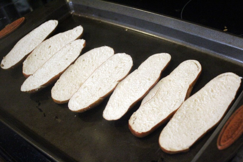 Arrange bread for initial broil