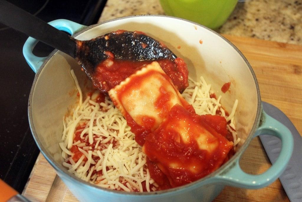 Spread over second layer of ravioli