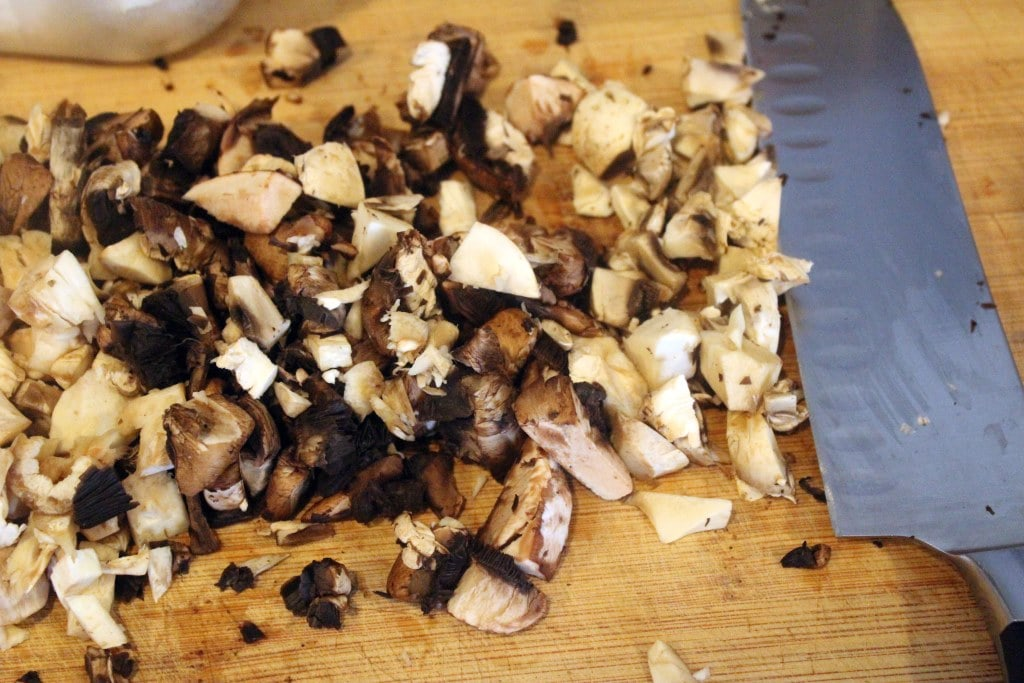 Coarsely chop mushrooms