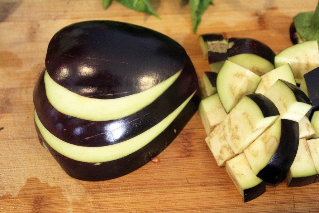 Planks of eggplant