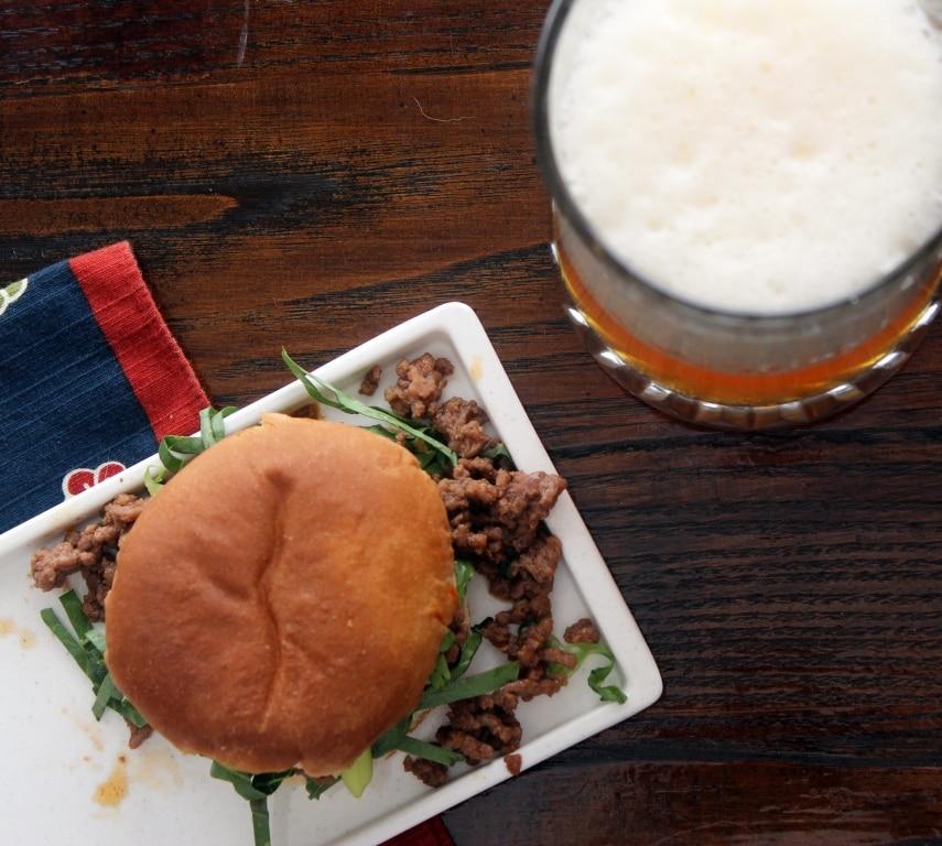 Top of bun with beer
