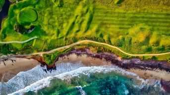 Aerial photo of the California coast