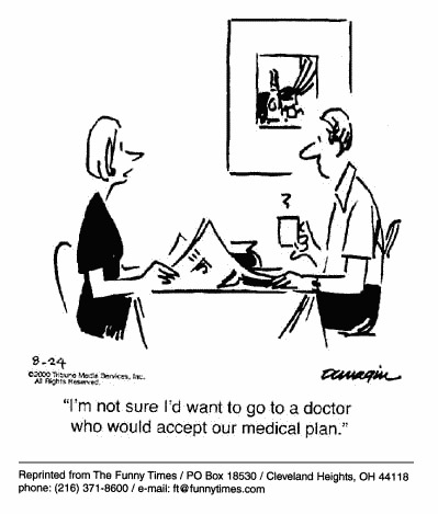 Funny doctor insurance therapy cartoon, November 08, 2000