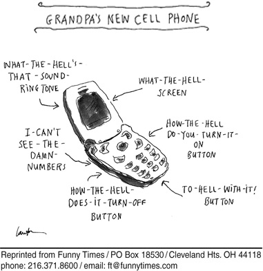Funny phone cell cellphone  cartoon, October 15, 2008