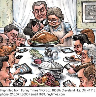 Funny wuerker holiday technology  cartoon, December 19, 2012