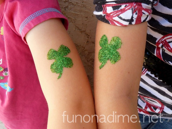Homemade Glitter Tattoos - st patrick's day