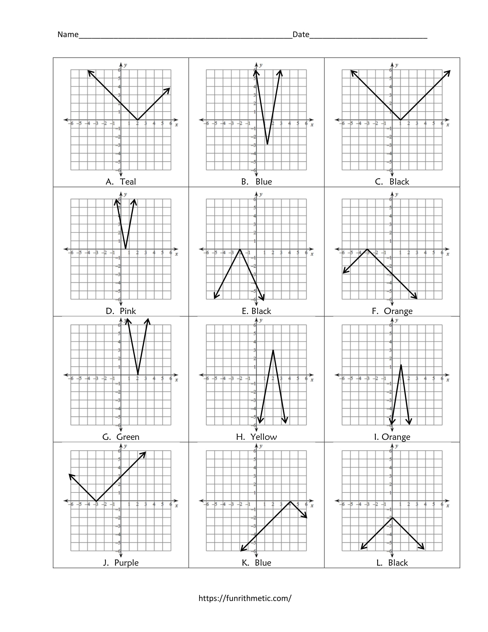 Absolute Value Equations Color by Number In Graphing Absolute Value Functions Worksheet