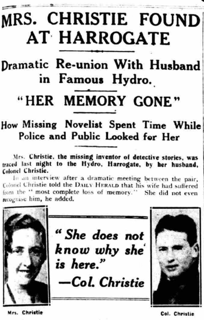 Daily Herald, 15 December 1926, announcing Christie had been found at Harrogate hotel