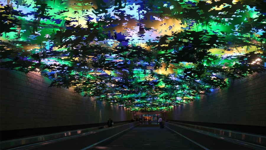 Flight Paths by artist Steve Waldeck in Atlanta Airport