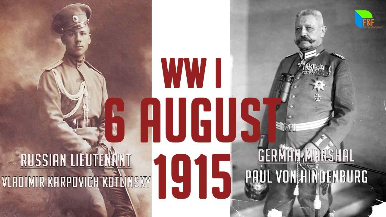 Lieutenant Vladimir Karpovich Kotlinsky and Marshal Paul von Hindenburg at the attack of deadman war