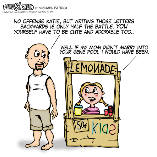 Fun sized comic cartoon uncle insults niece selling lemonade, she gets witty back