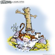 calvin and hobbes parody log walking over bill watterson characters tiger boy