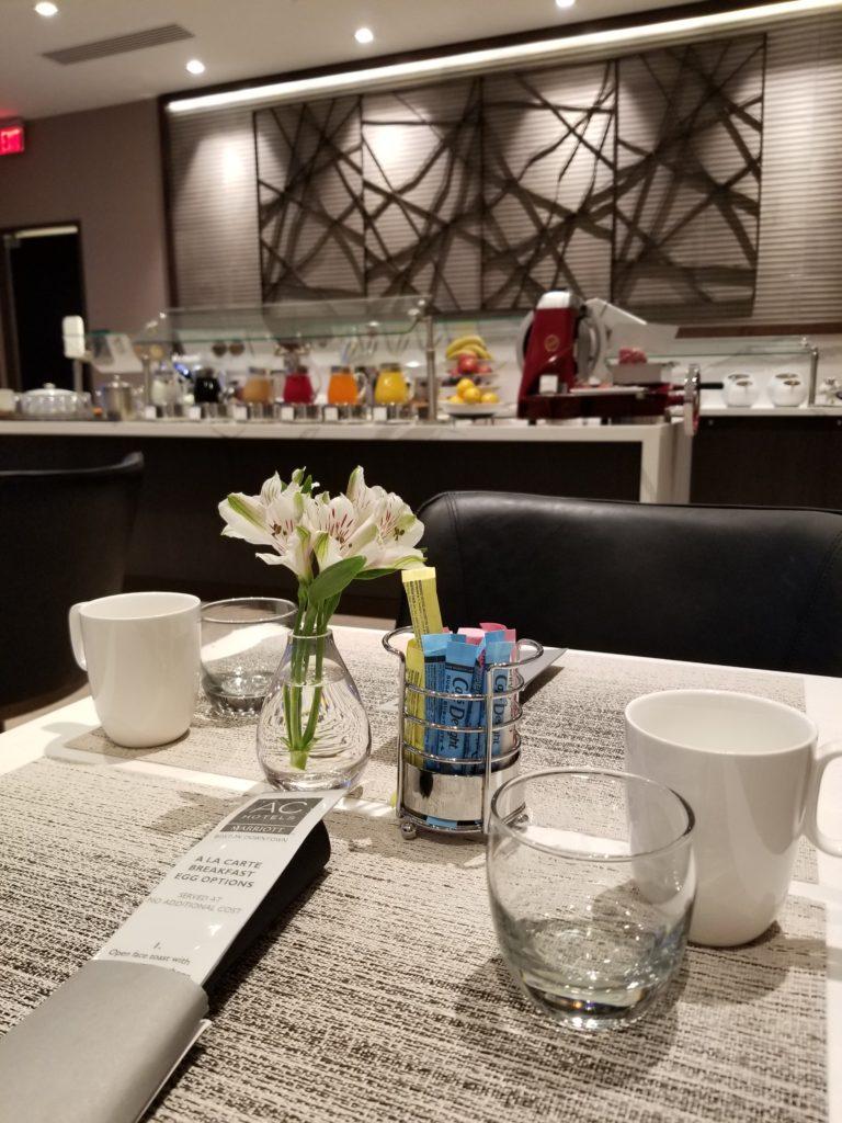 Breakfast seating AC Hotel Cambridge