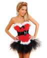 Holiday flirt velvet bustier w/removable & adjustable garters, thong & petticoat,belt