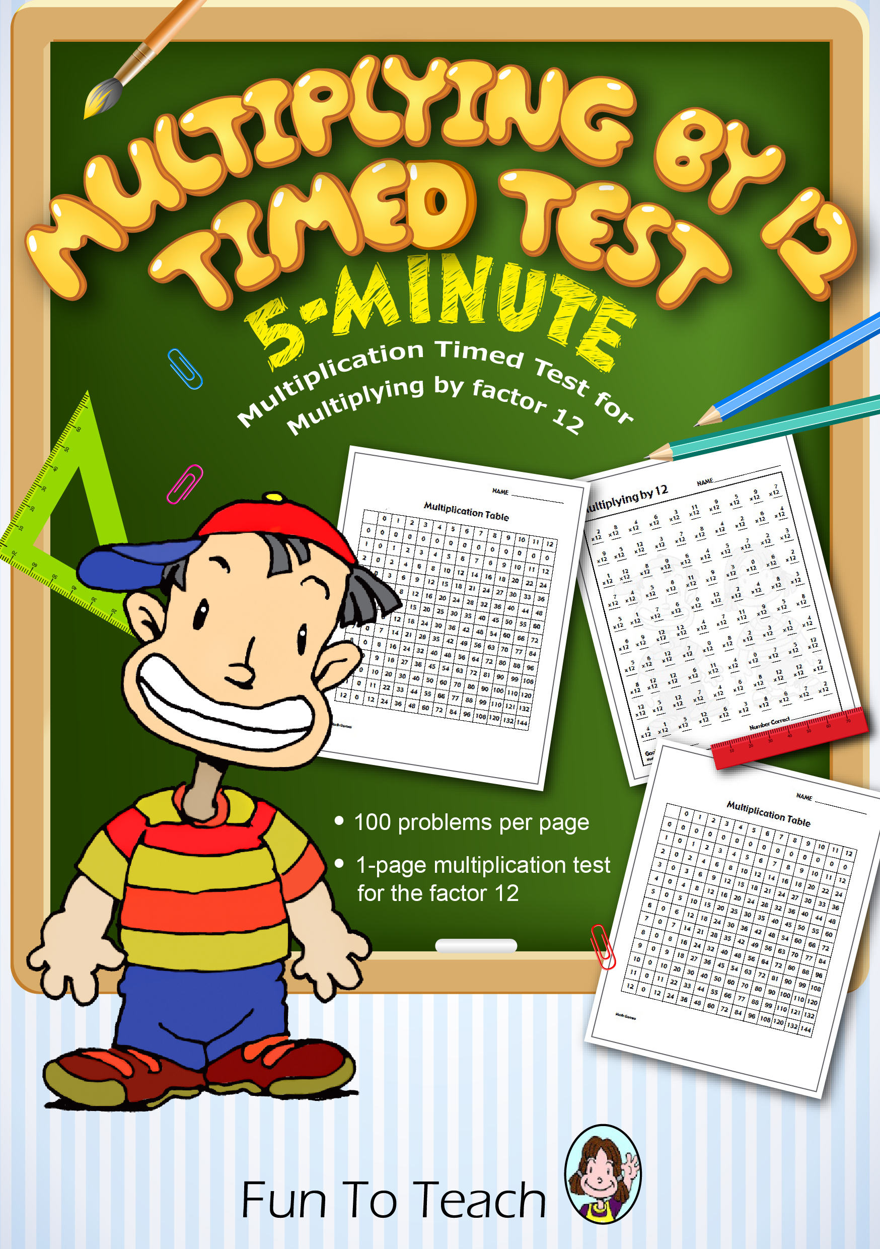 Multiplication 5 Minute Timed Test Multiplying By 12