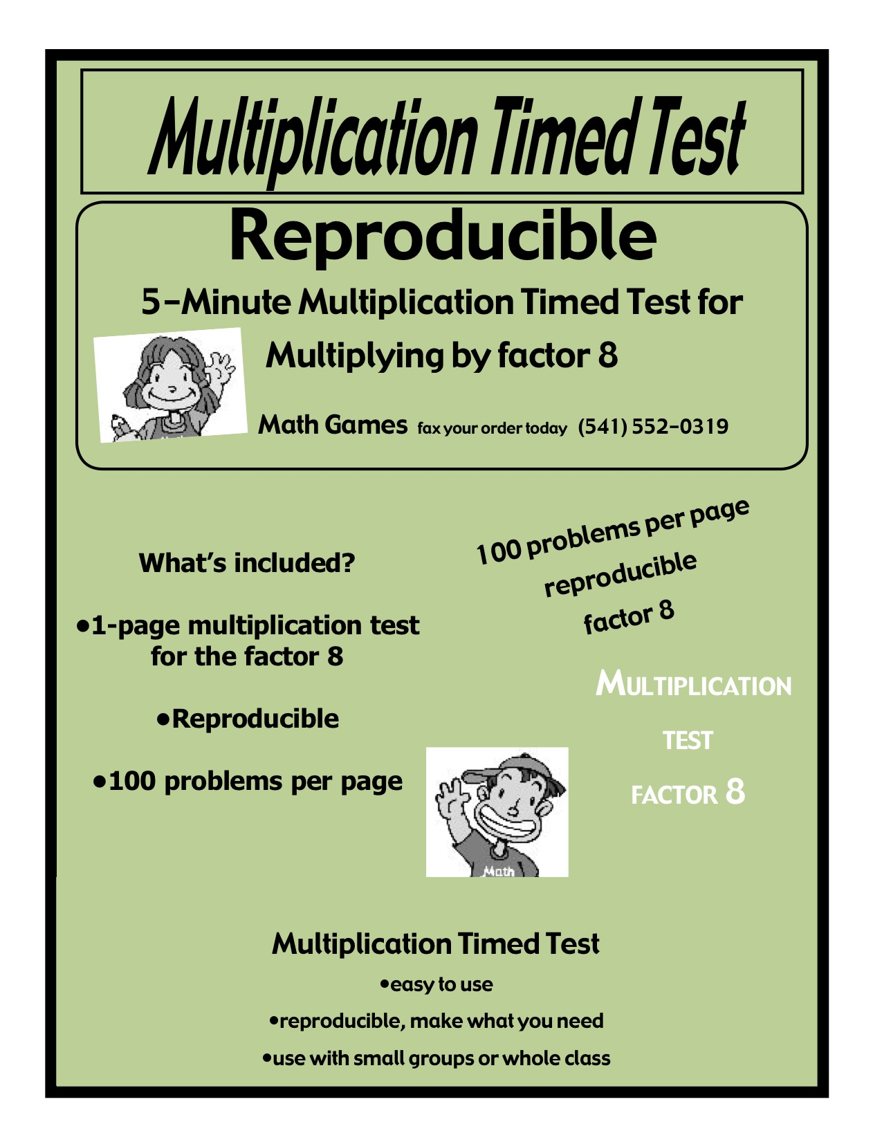 Multiplication 5 Minute Timed Test Multiplying By 8