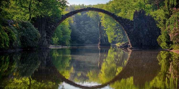 Devil's Bridge: The Die Rakotzbrücke Bridge or Rakotzbrücke - The Nature's ring