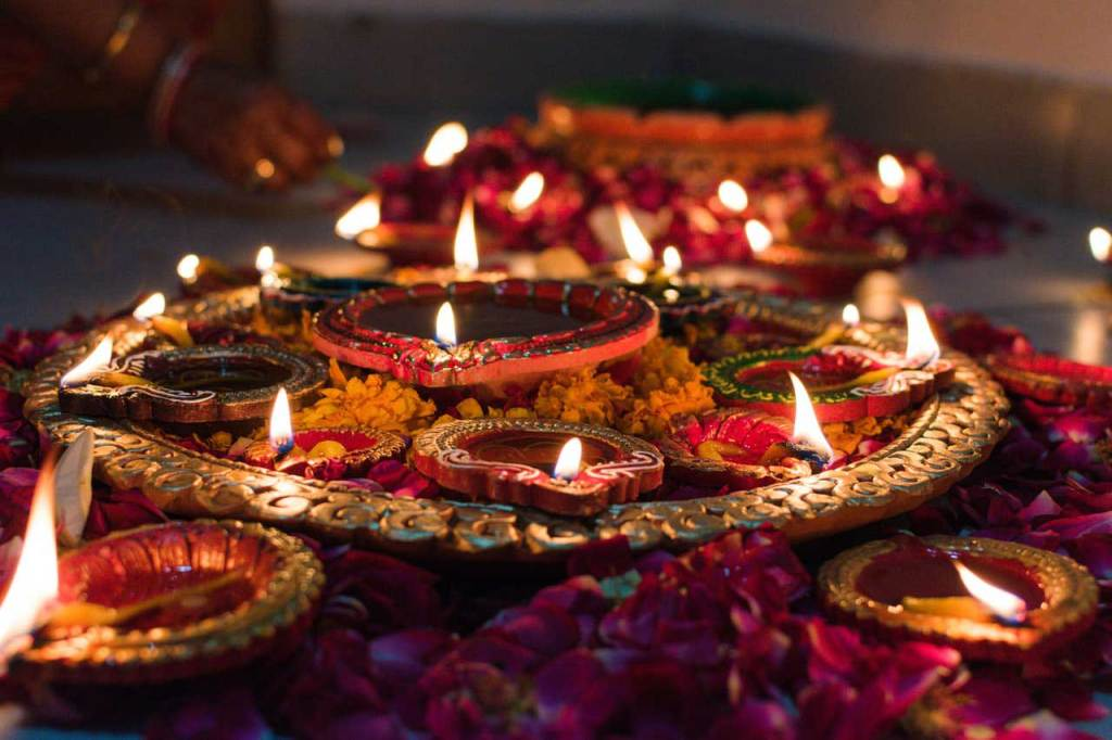 Diwali Diyas with flowers