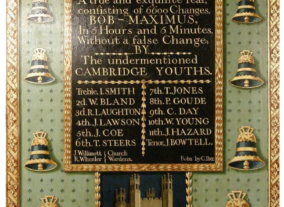 Restored 1788 peal board