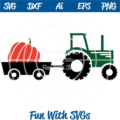 Pumpkin Harvest Tractor SVG Image