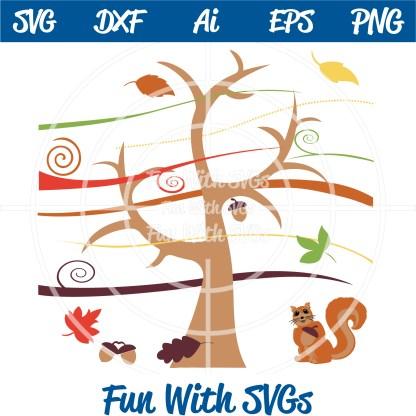 Harvest Farm Tree Acorn Squirrel Leaves Autumn SVG Image