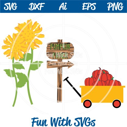 Harvest Sunflower Pumpkin Wagon SVG Image