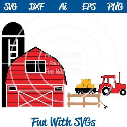 Harvest Farm Barn, Silo, Tractor, hay, Fence SVG Image