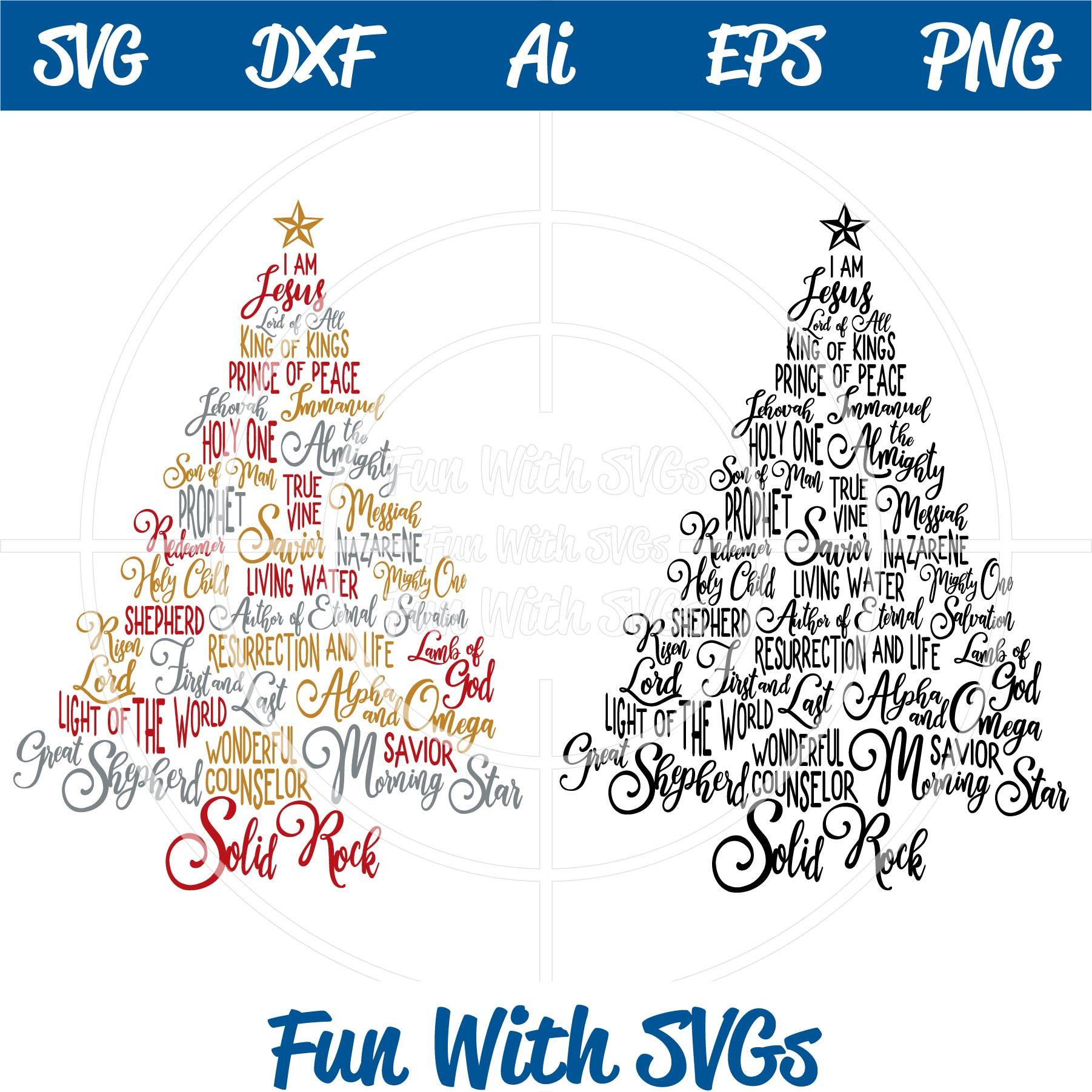 Christmas Jesus.Names Of Jesus Christmas Tree Svg And Printable Fun With Svgs