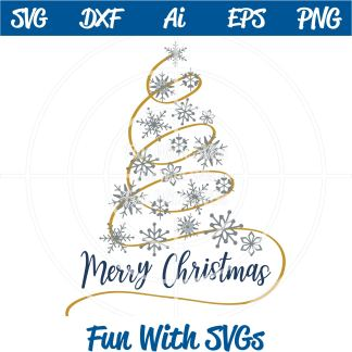 Snowflake Christmas Tree SVG Image
