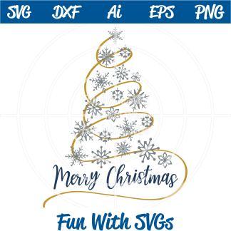 Snowflake Christmas Tree SVG Image