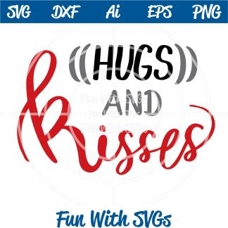 Hugs and Kisses SVG Cut File Iamge