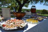 """THE SPREAD: the spread consisted of open-faced Danish sandwiches called """"Canapes"""" that the bride's maternal grandmother made, strawberry inspired salad, deviled eggs and one YUMMY strawberry cake!"""