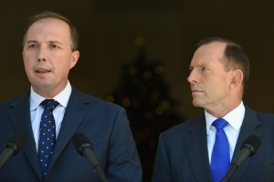 Image: Abbott and Health Minister Dutton announce plan b to make the sick pay more for medical consultations and treatment (AAP Image/Lukas Coch)