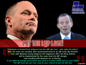 Image: When #QLDvotes on Jan 31, 2015 - a vote for Campbell Newman endorses Tony Abbott. Send a strong message to Canberra, number every box and put the LNP last!