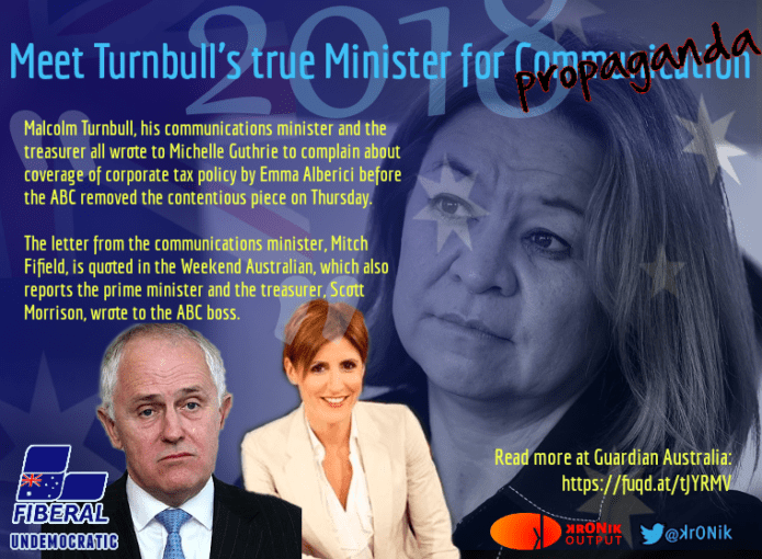 Image: Turnbull spits the dummy and has Guthrie censor Alberici's unfavourable article