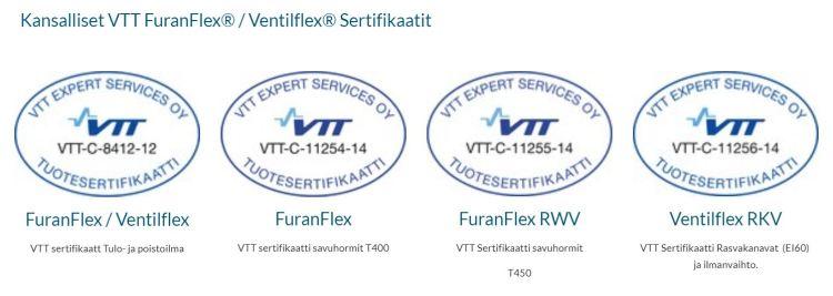 FuranFlex ja VentilFlex VTT sertifikaatit