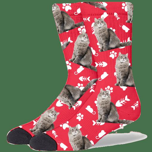FurbabySocks Custom Red Cat Socks