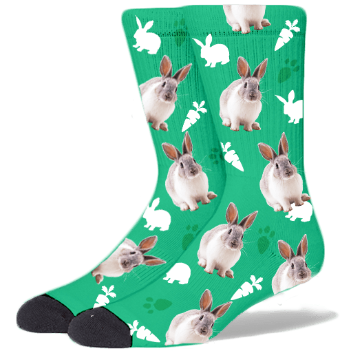 FurbabySocks Custom Green Rabbit Socks