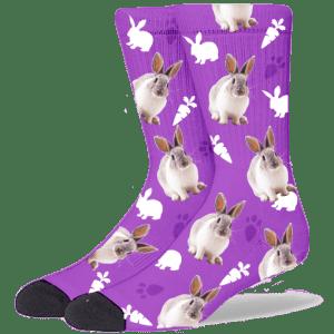 FurbabySocks Custom Purple Rabbit Socks