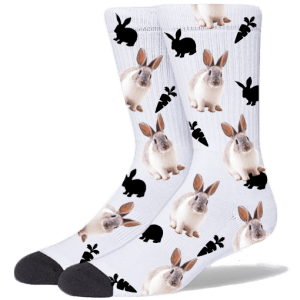 Medium White Cute Bunny Socks USA SHIPPING