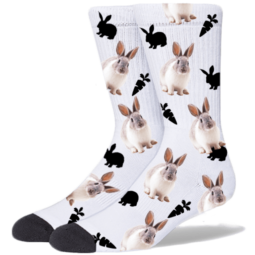 FurbabySocks Custom White Rabbit Socks