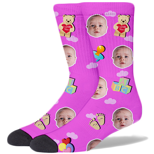Baby Face Product Socks BABY PINK